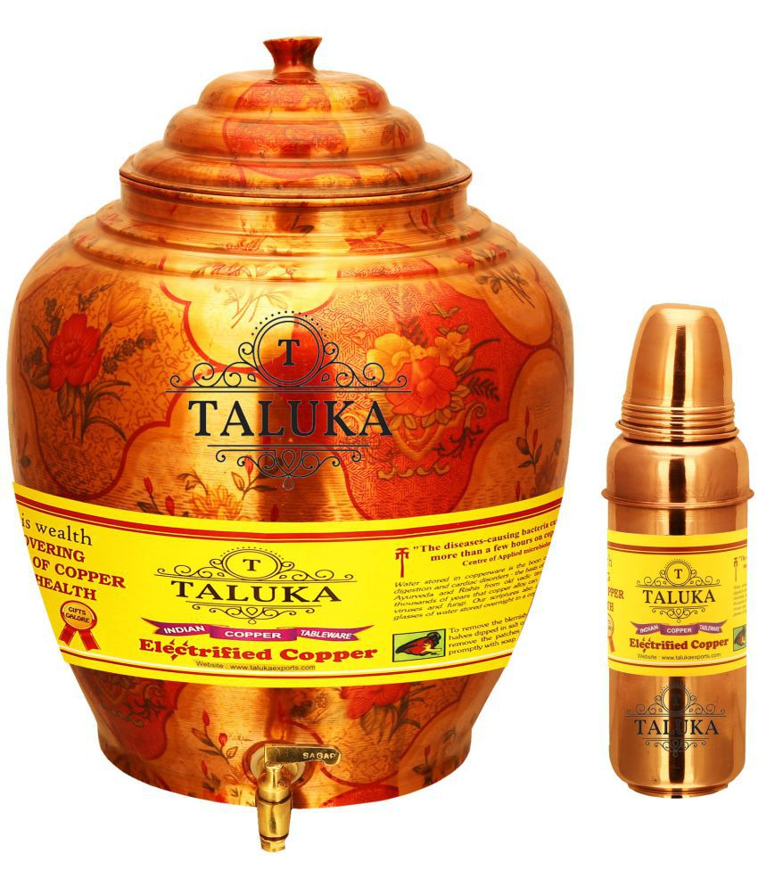 Taluka Water Pot 16 Liter  amp;Water Bottle 800 ML Copper Water Container Set of 2