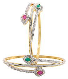 Jewels Galaxy Elegant Designed Hand Crafted American Diamond Pair of Bangle for Women