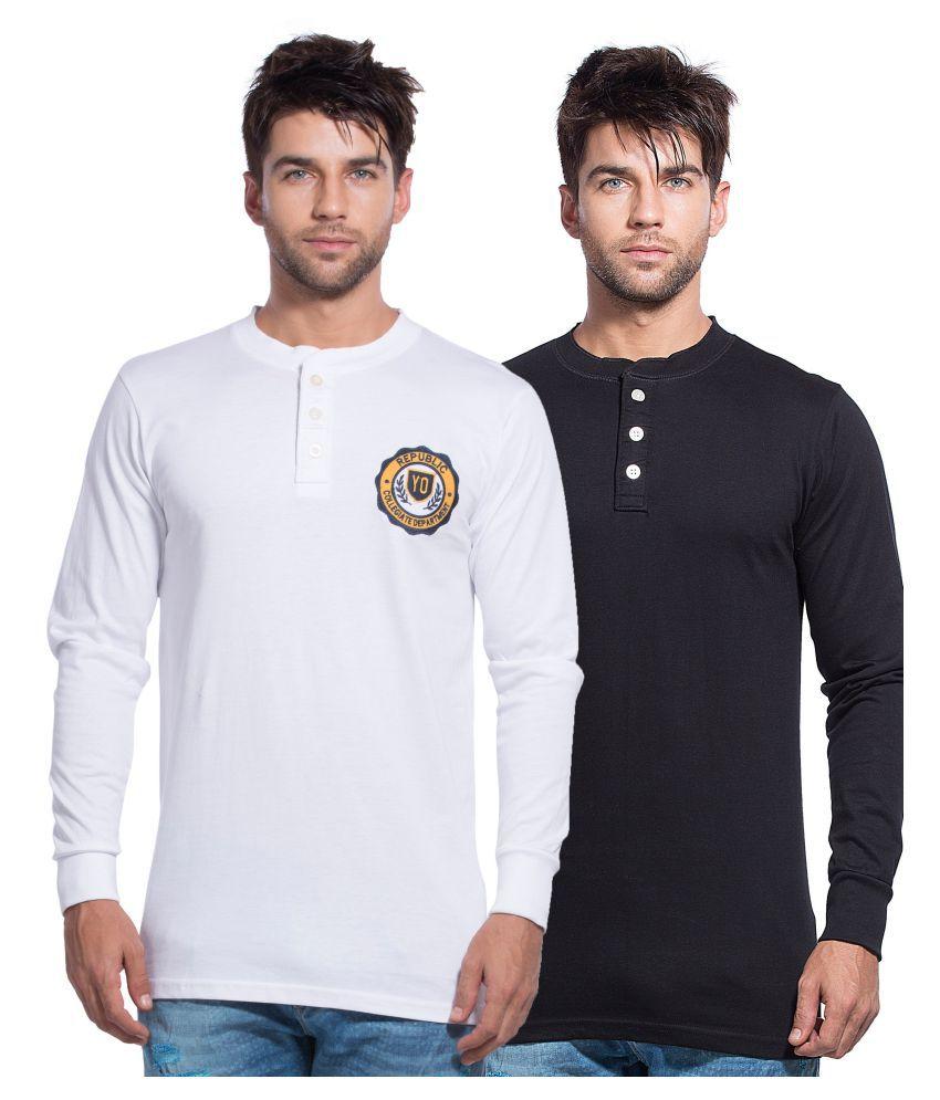 Yo Republic Multi Henley T-Shirt Pack of 2