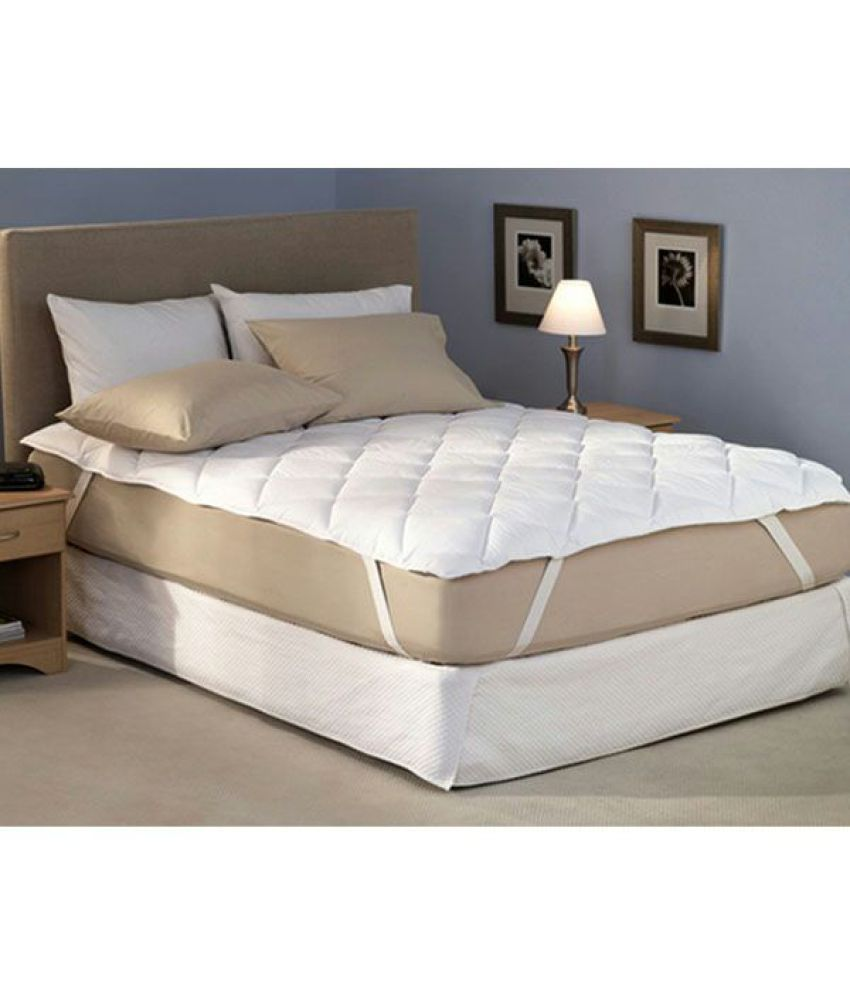 desirica waterproof double bed mattress protector white cotton