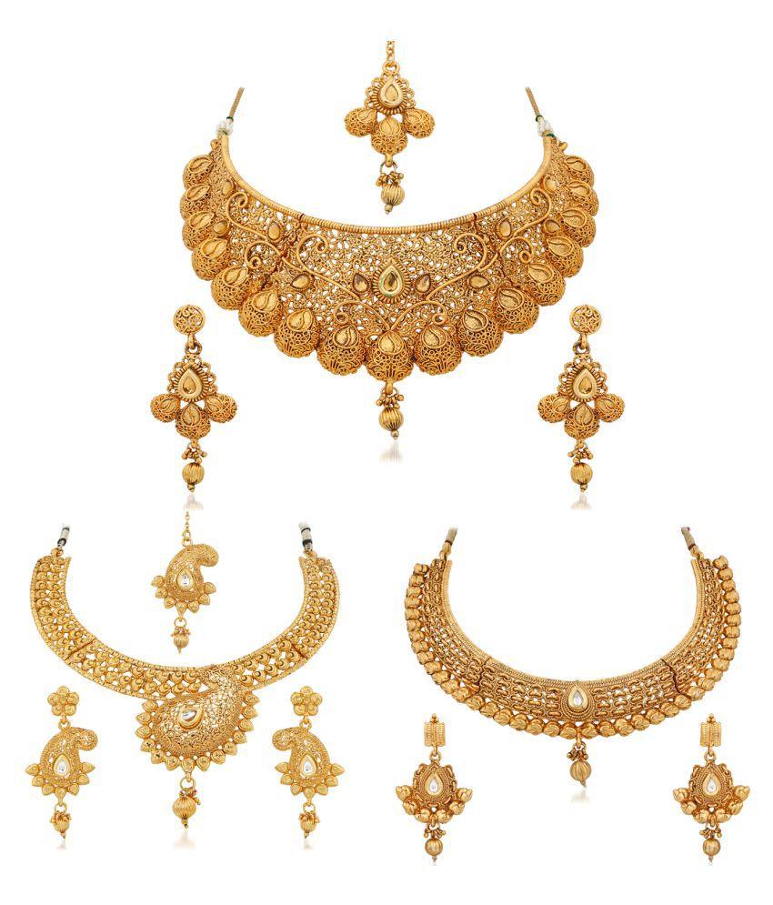 Apara Golden Alloy Necklace set Combo