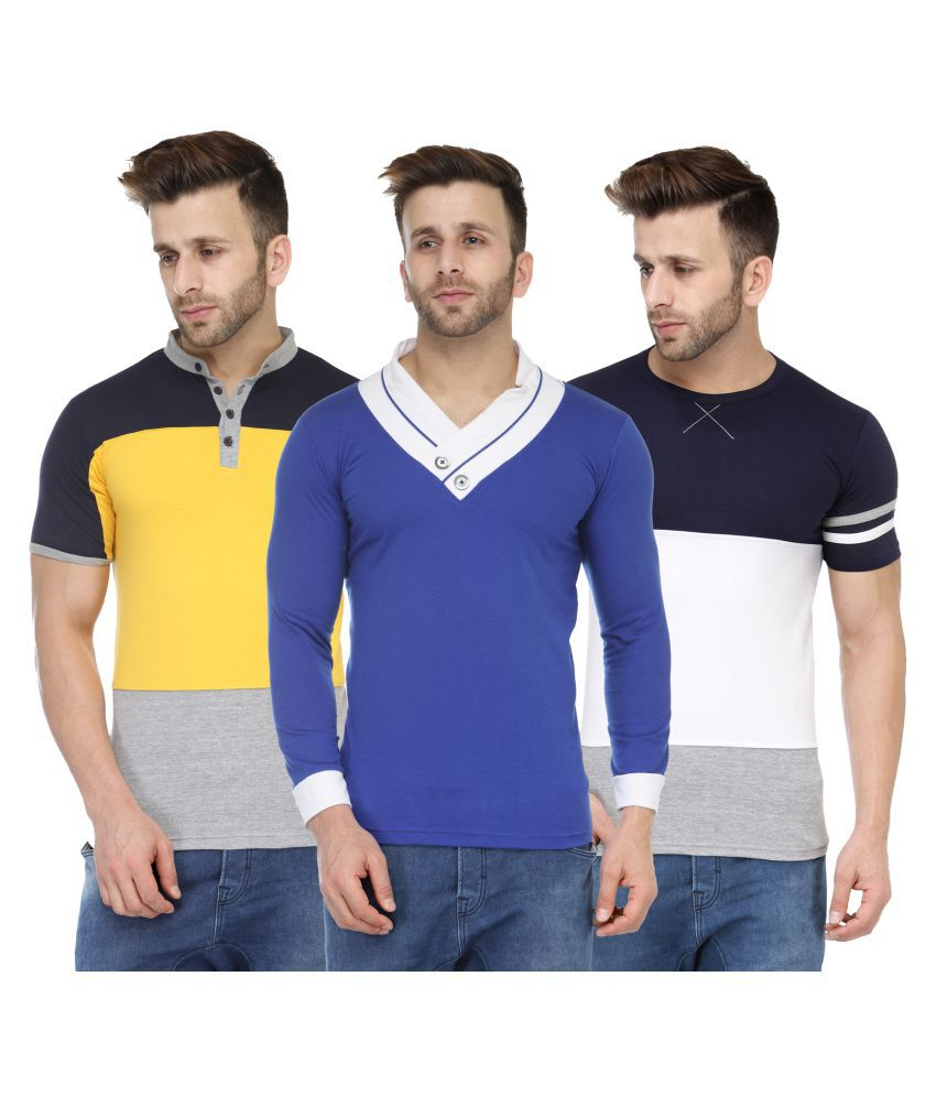 M Style Multi Round T-Shirt Pack of 3