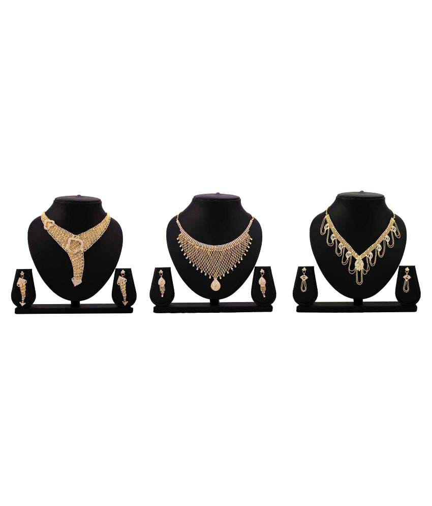 Bahucharaji Creation Presents Golden Alloy Necklace Set Combo.