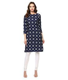 Ives Blue Polyester Straight Kurti