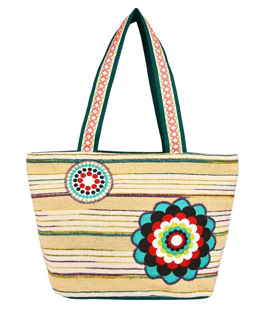 Anekaant Beige Cotton Shoulder Bag
