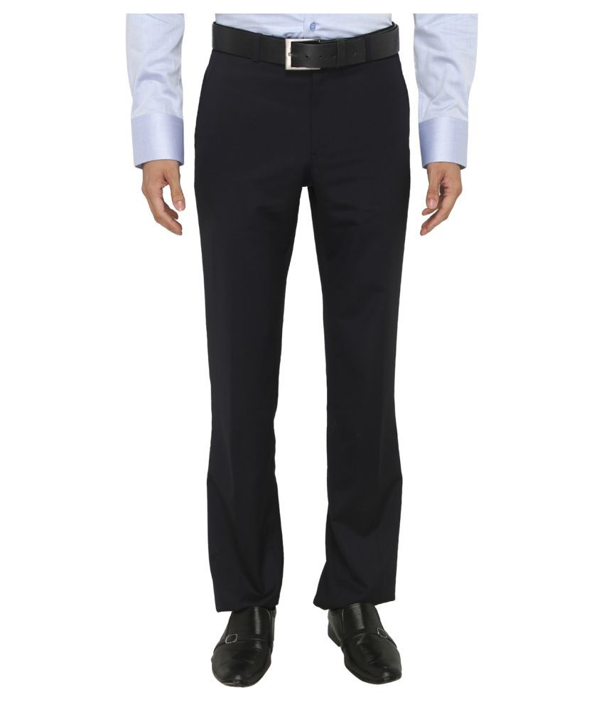 JadeBlue Navy Blue Slim -Fit Flat Trousers