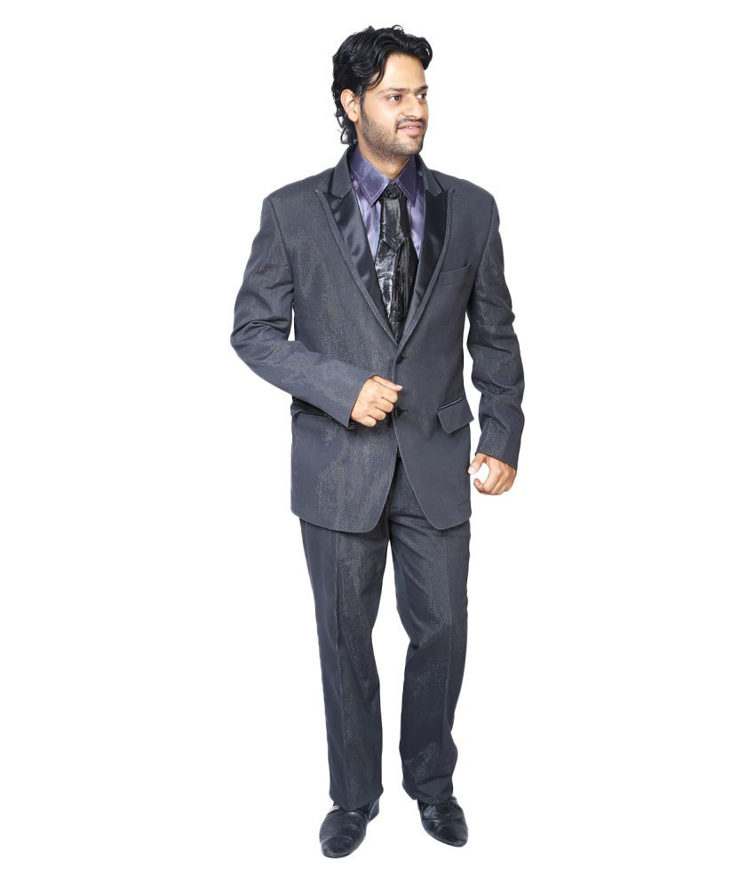 Bindals Grey Solid Party Suit