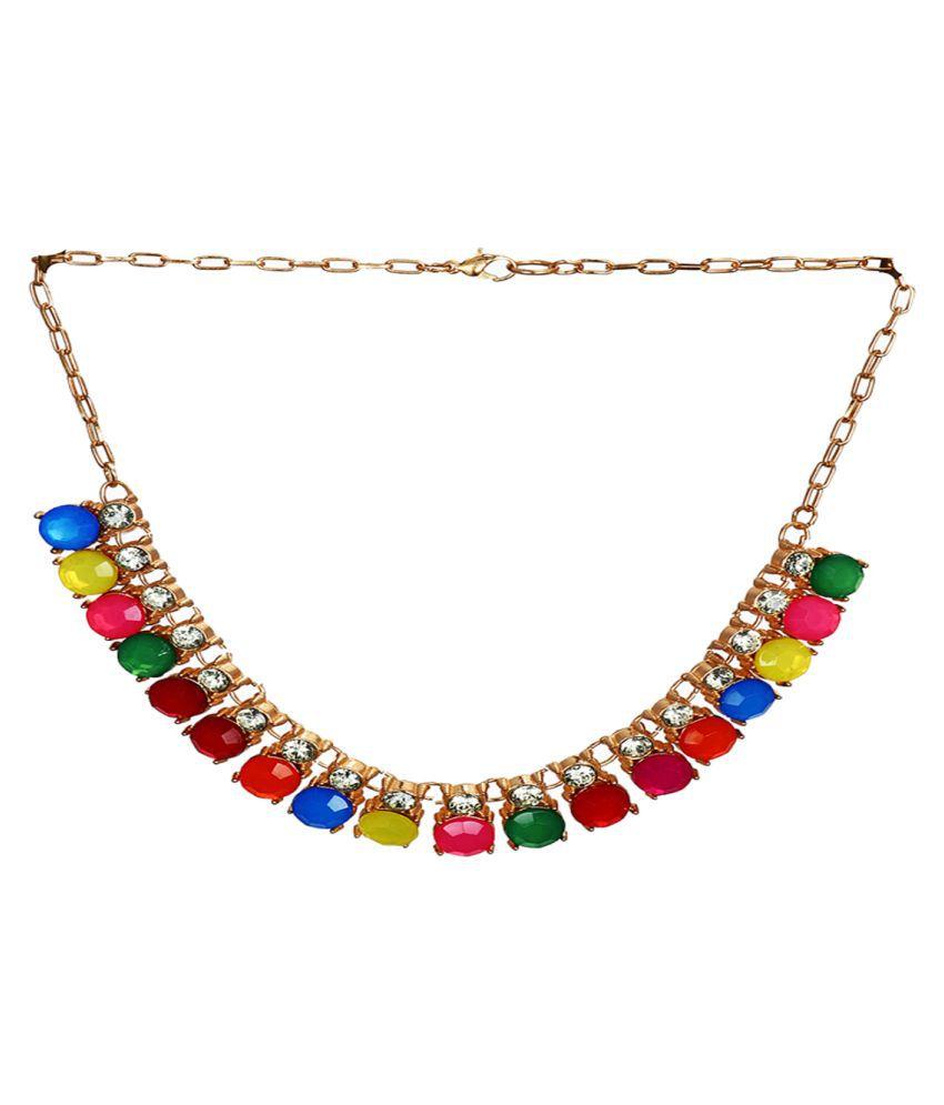 Rizir Fashion Women's Vibrant Multicoloured Alloy Necklace