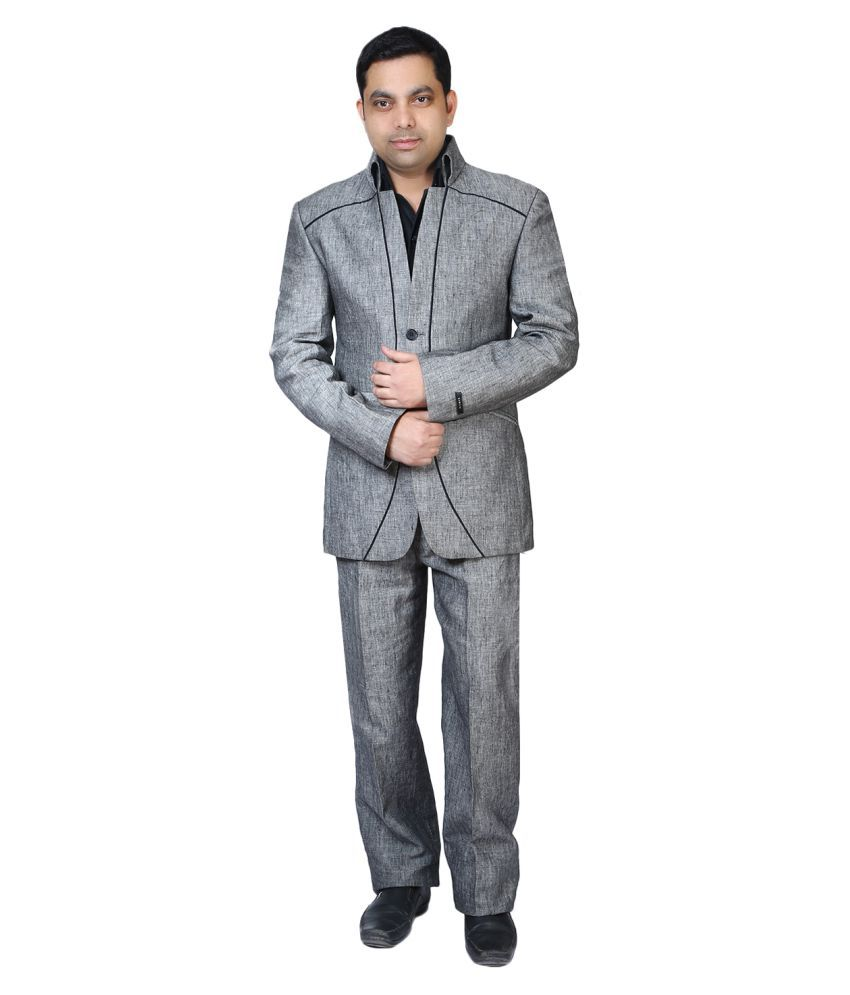 Bindals Grey Solid Party 2 Piece Suits