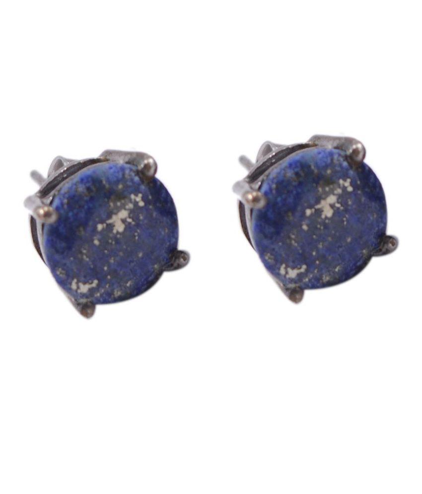 Silvesto India 92.5 Silver Lapiz Lazuli Studs