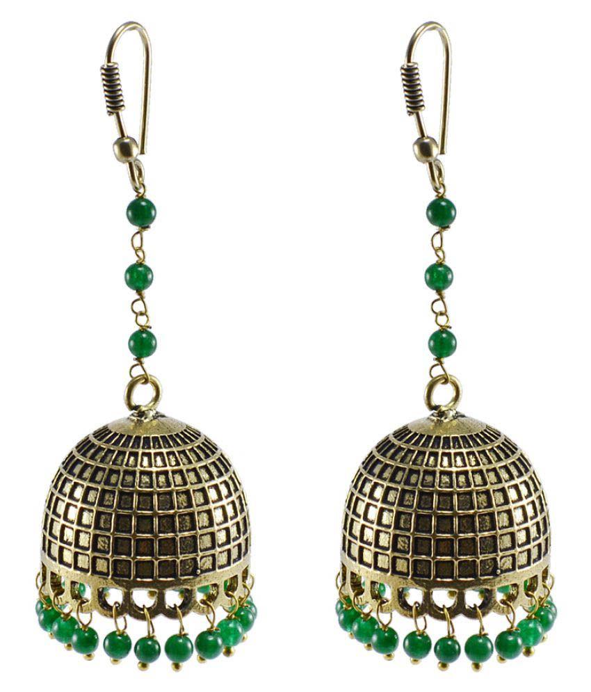 Silvesto India Green Jhumki Earrings Single Pair