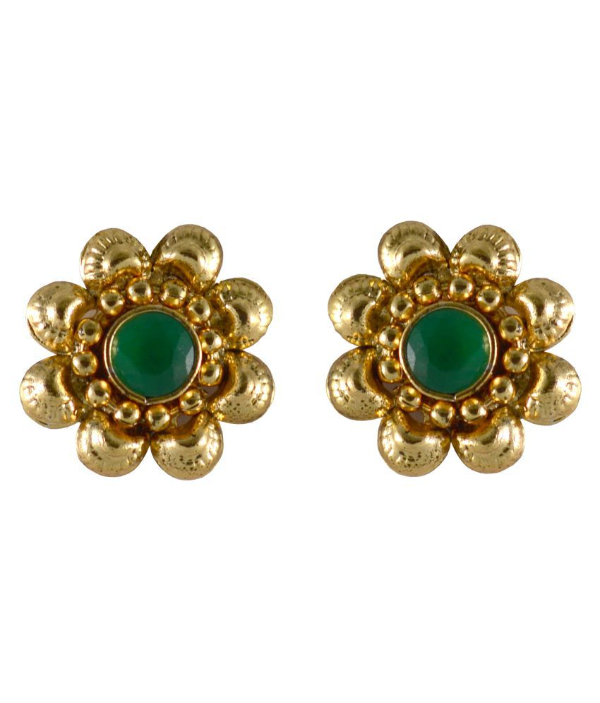 Rejewel Green Alloy Indian Design Gold Plated Stud Earrings