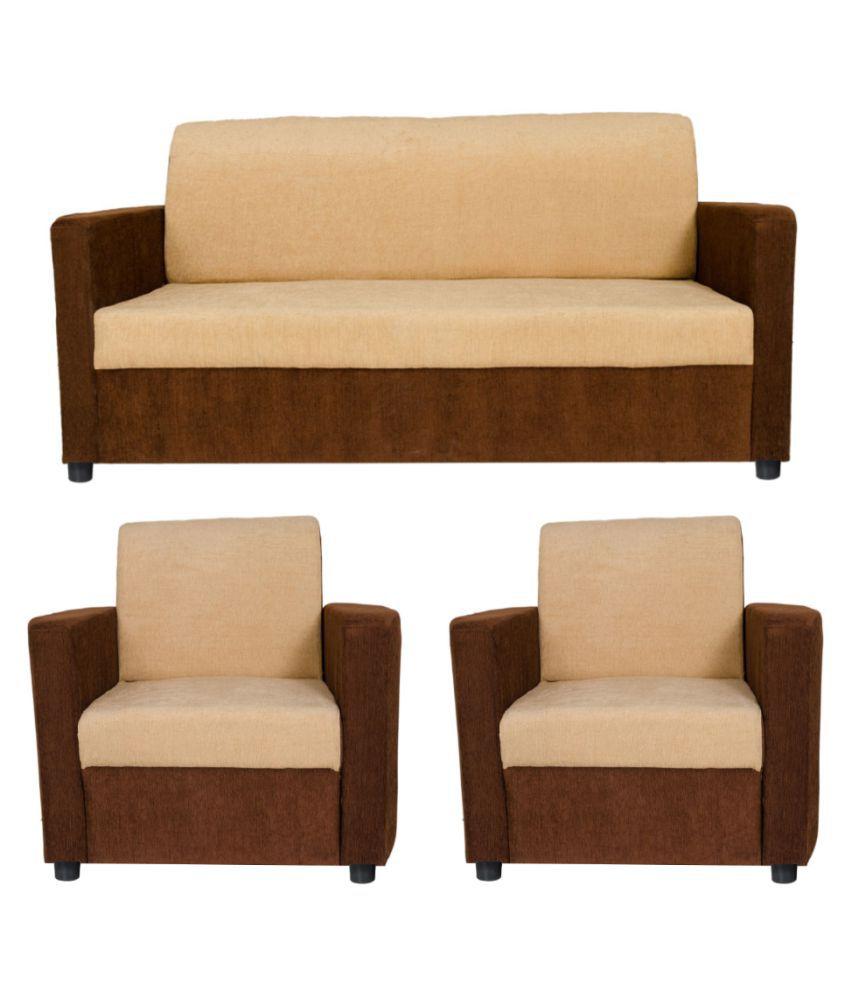 Gioteak sofia semi sofa set in cream brown color - Buy Gioteak sofia ...