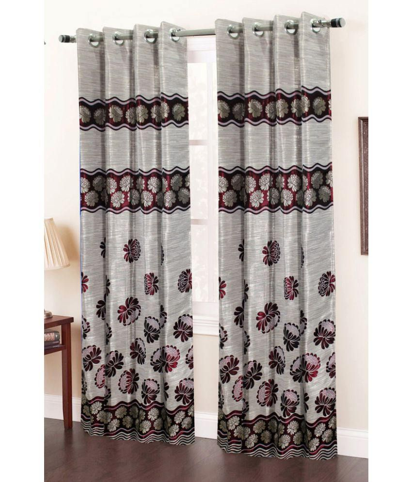 Homefab India Set of 2 Window Eyelet Curtains Floral Maroon
