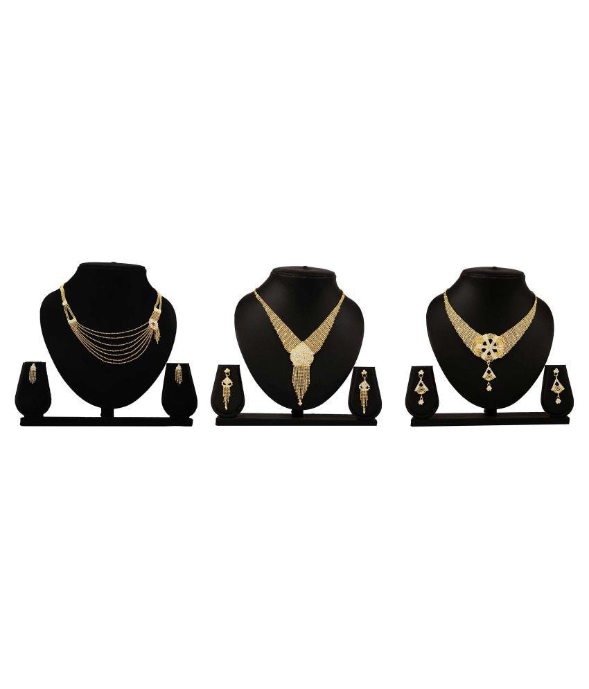 Bahucharaji Creation Presents Golden Color Alloy Set of 3 Piece Necklace Set Combo