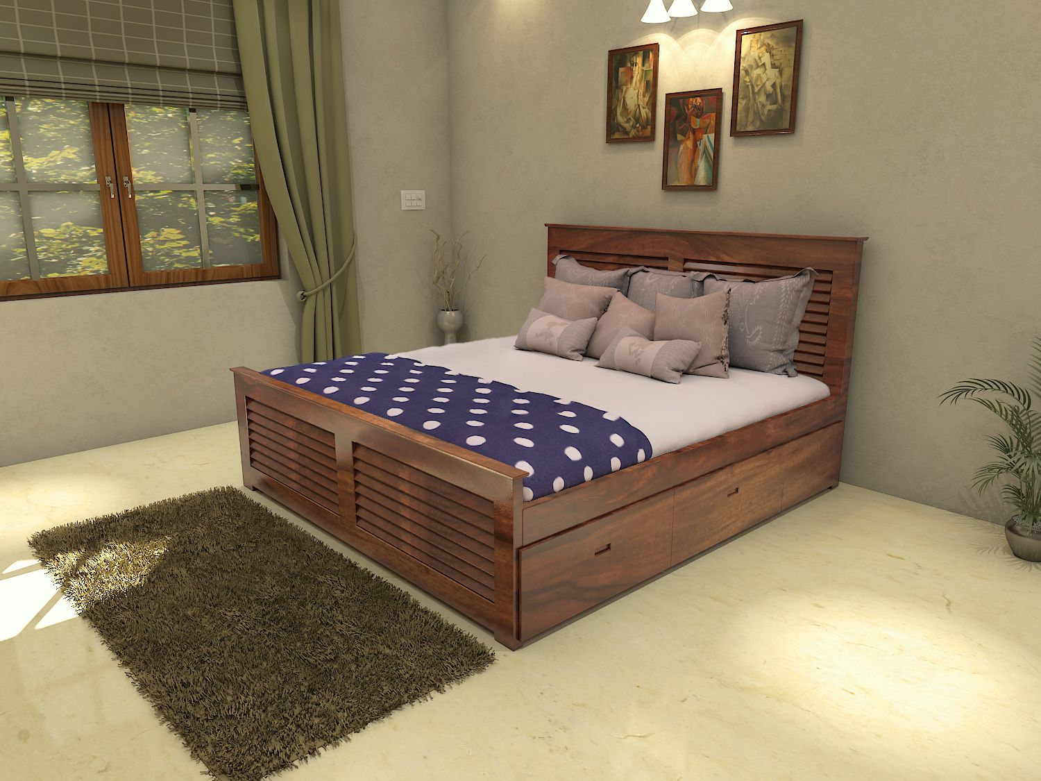 wooden king size double bed in teak finish buy wooden king size