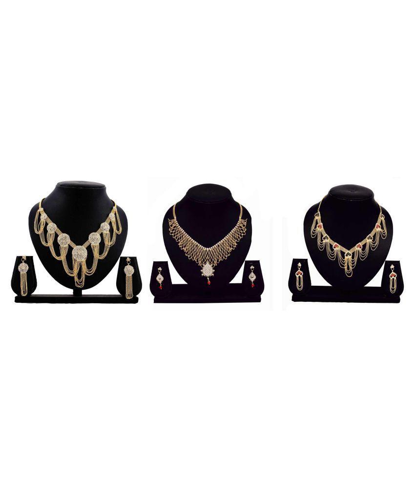 Bahucharaji Creation Presents Golden Alloy Set of 3 Pieces Necklace Set