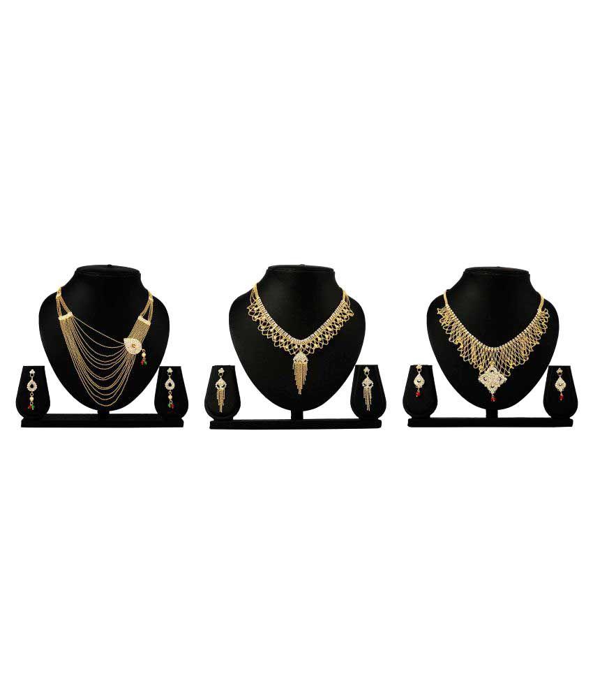 Bahucharaji Creation Presents Golden Alloy Set of 3 Necklace Set