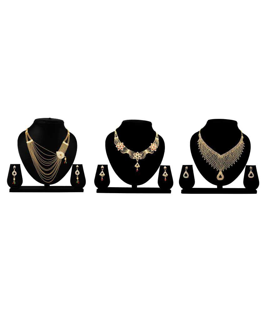 Bahucharaji Creation Presents Golden Alloy Set of 3 Piece Necklace Set