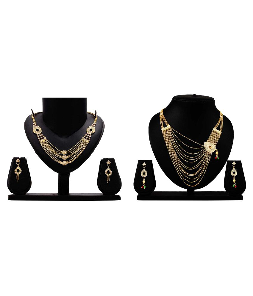 Bahucharaji Creation Golden Alloy Necklace Set Combo