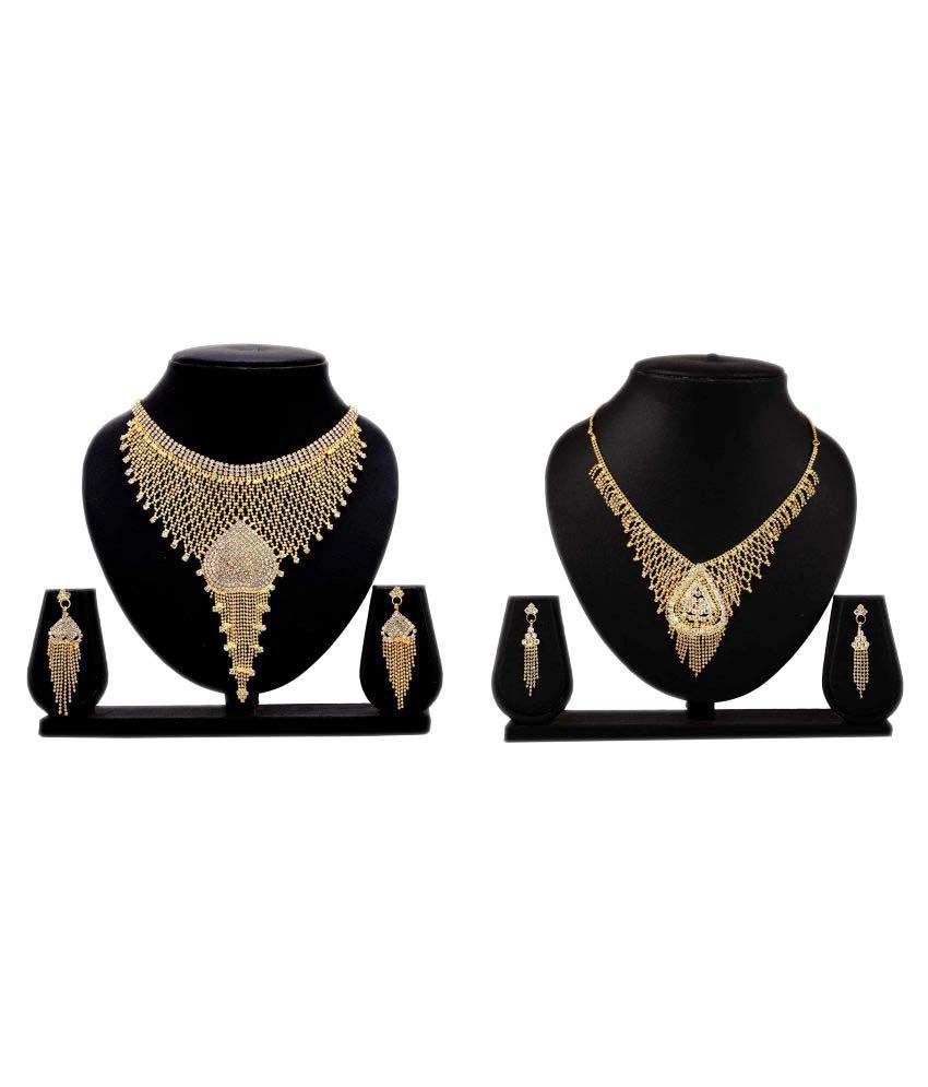 Bahucharaji Creation Golden Alloy Necklace Set Combo - Set of 3
