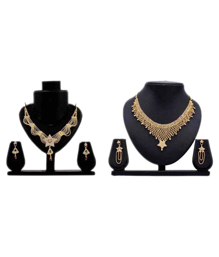 Bahucharaji Creation Presents Golden Alloy Set Of 2 Necklace Set Combo