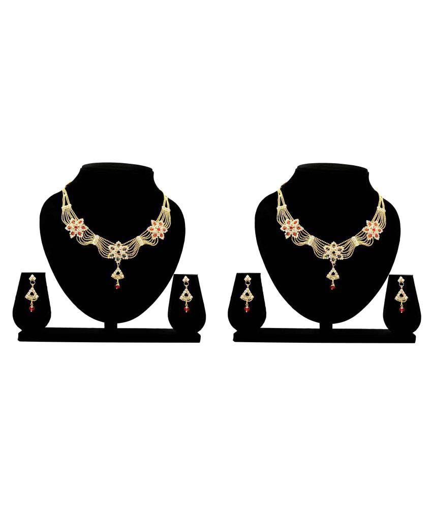 Bahucharaji Creation Presents Golden Alloy Combo Necklace Set of-2
