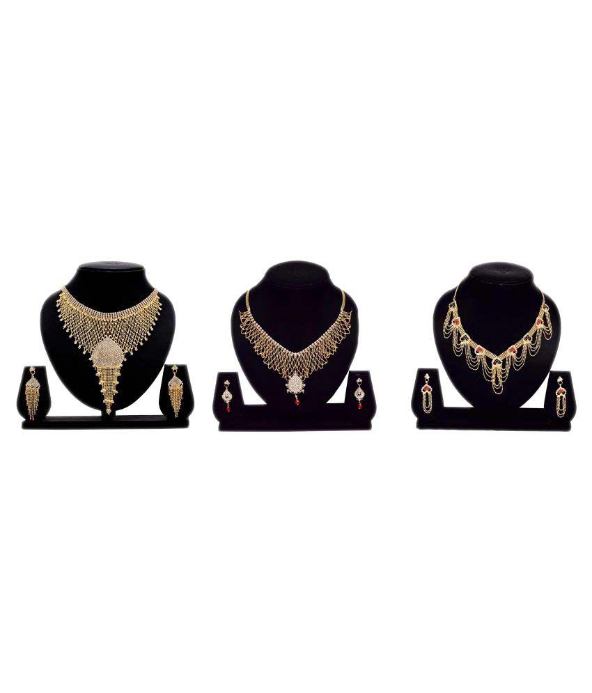 Bahucharaji Creation Golden Alloy Necklace Set - Pack of 3