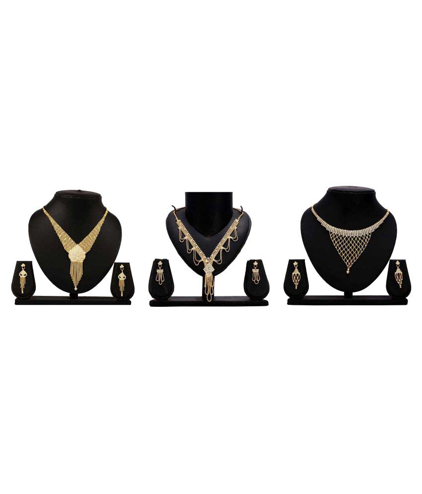 Bahucharaji Creation Golden Alloy Set of 3 Necklace Set Combo