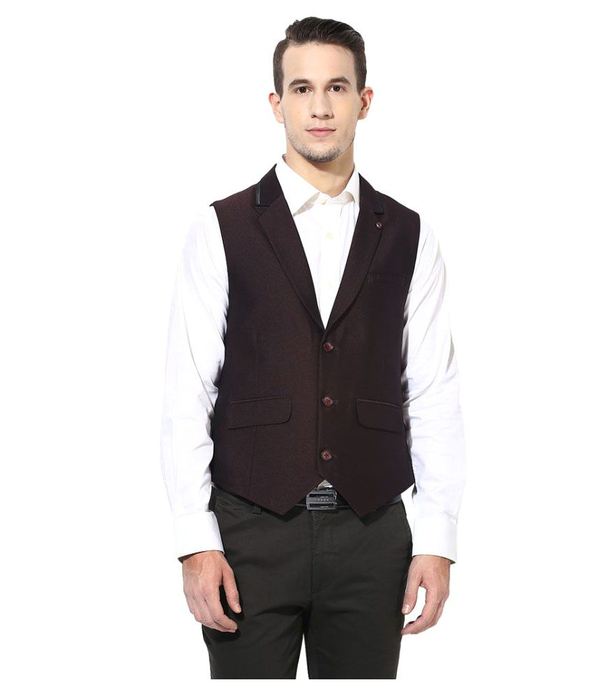 Turtle Maroon Solid Party Waistcoats