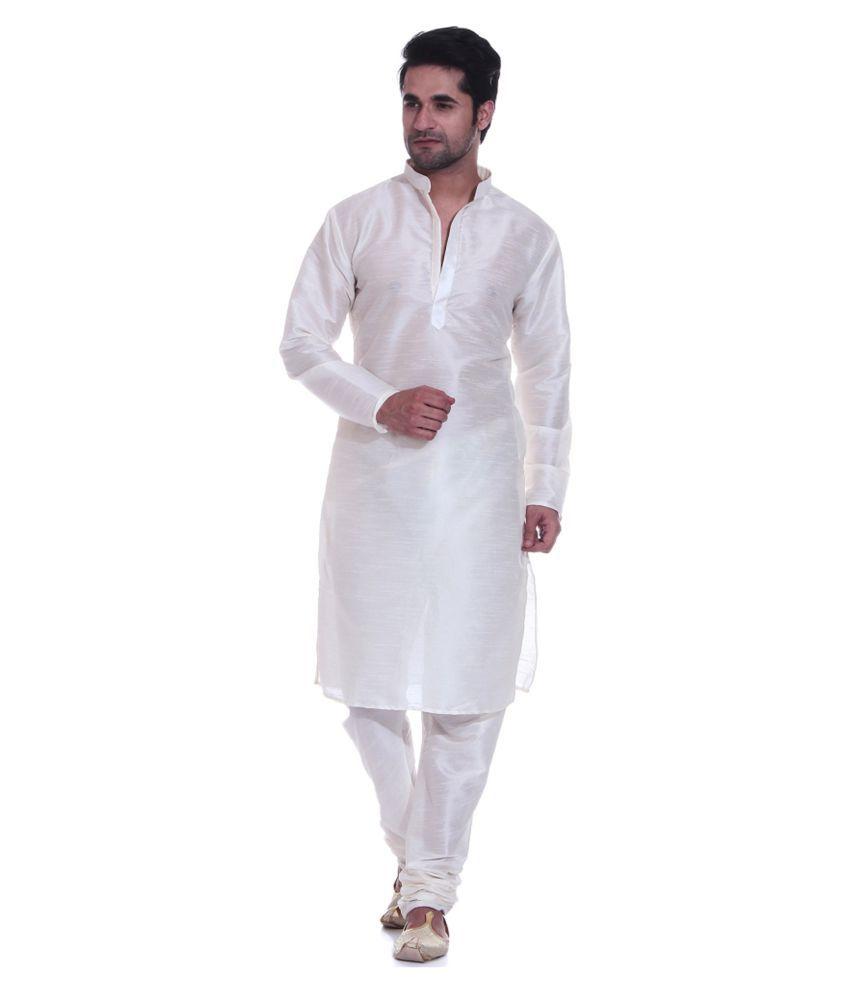 da26f7691a Larwa White Silk Kurta Pyjama Set - Buy Larwa White Silk Kurta Pyjama Set  Online at Low Price in India - Snapdeal