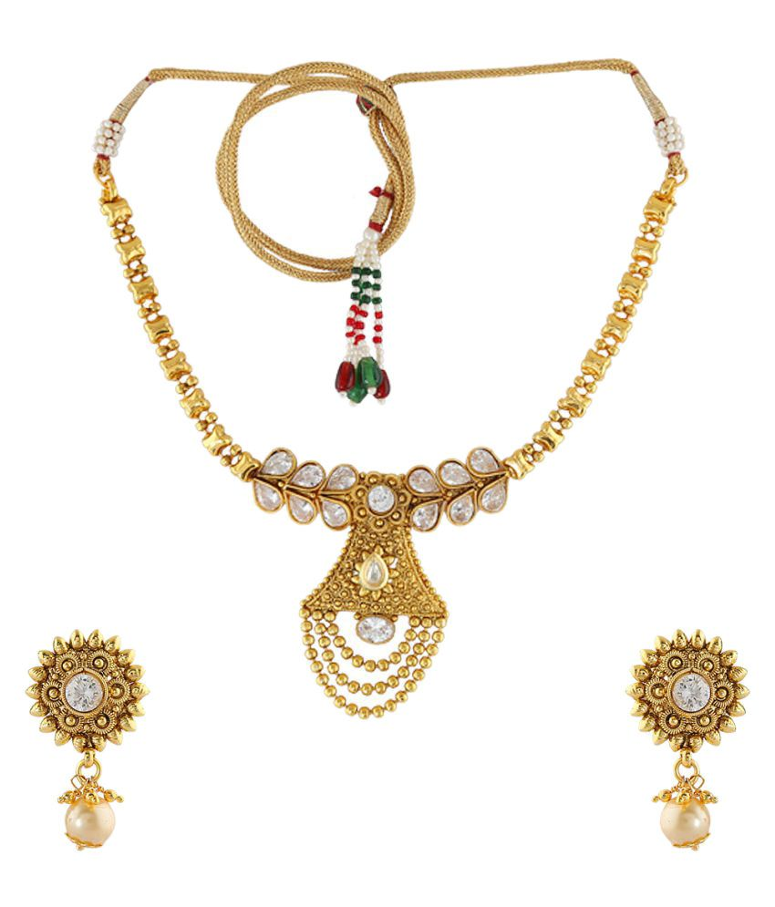 Anuradha Art Beautifully Style With White Stones & Gold Beads Chain Designer Traditional Necklace Set For Women /Girls