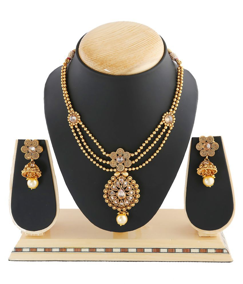 Anuradha Art Golden Finish Styled With Shimmering Stone Traditional Bridal Necklace Set For Women/Girls