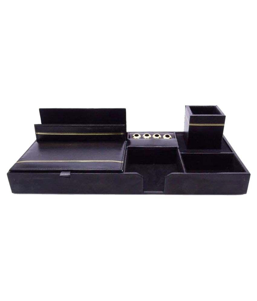 Kebica 9 Compartments Faux Leather Desk Organizer Black