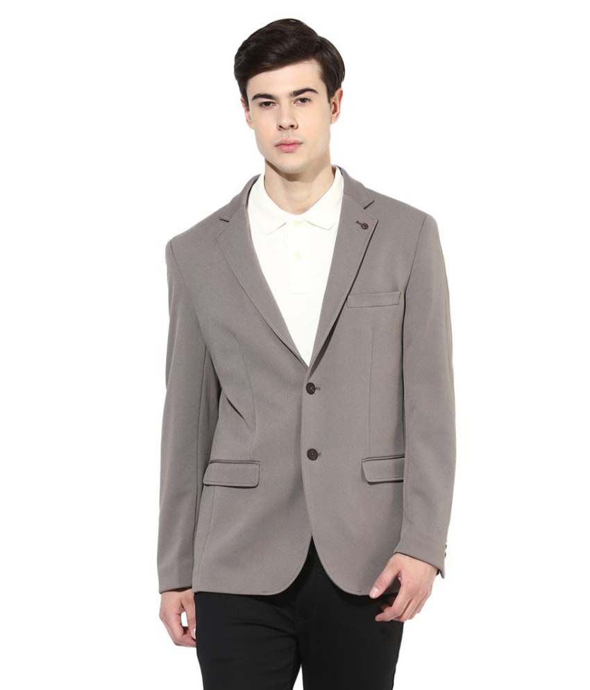 Turtle Grey Solid Formal Blazers