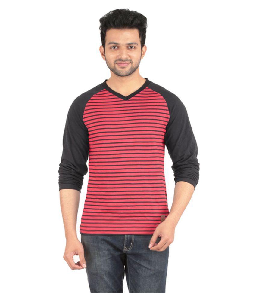 Yukth Red V-Neck T-Shirt