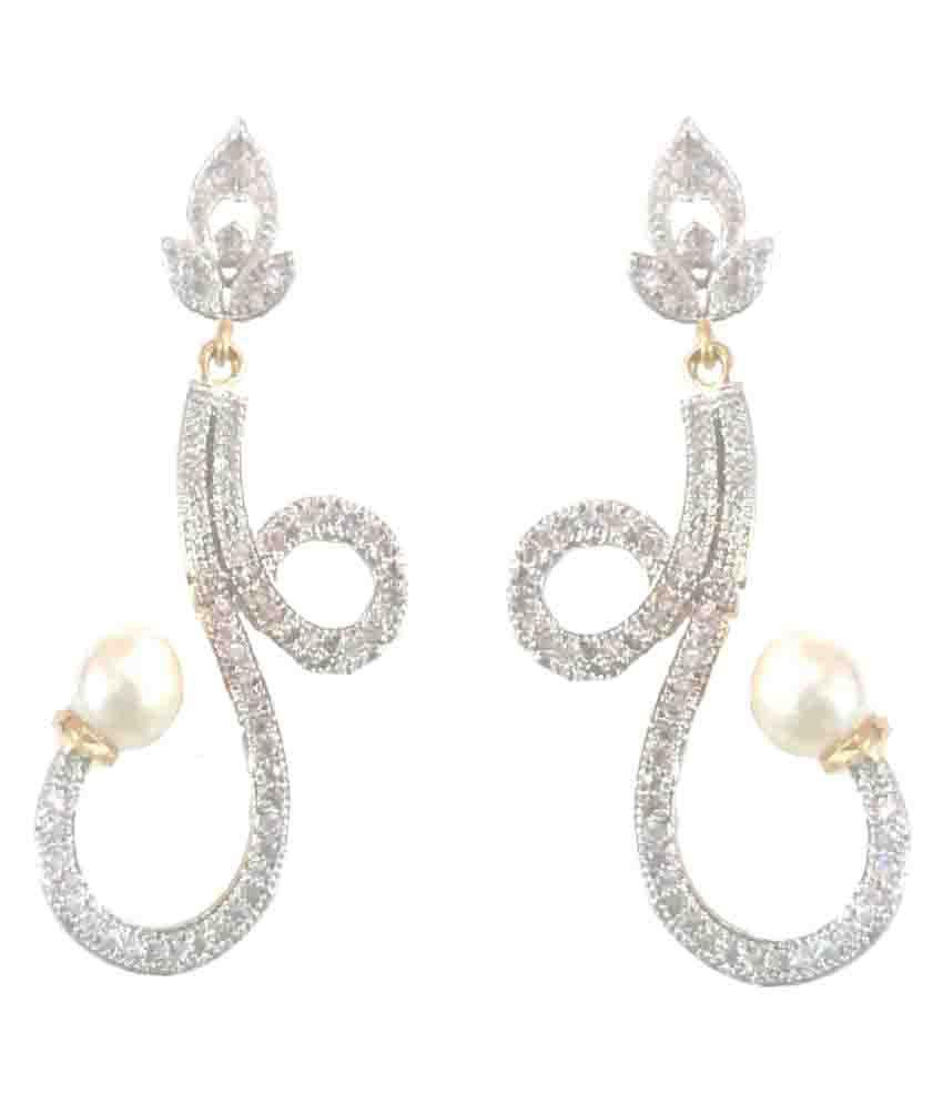 SKN Silver American Diamond Hangings Earrings for Women