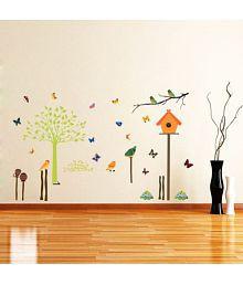 Creatick Studio Butterflies And Birds PVC Vinyl Multicolour Wall Sticker - Pack Of 1