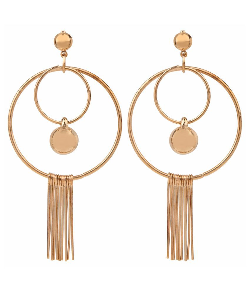 Archi Collection Trendy Antique Plated Crystal Fancy Party Wear Golden Hangings Earrings for Women