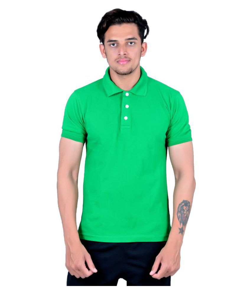 Zovil Green Cotton Polo T-Shirt