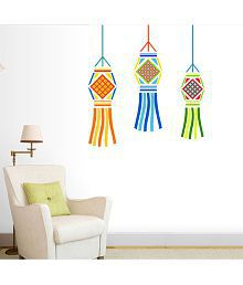 TMS Hanging Decorative Candle Vinyl Multicolour Wall Sticker - Pack Of 1