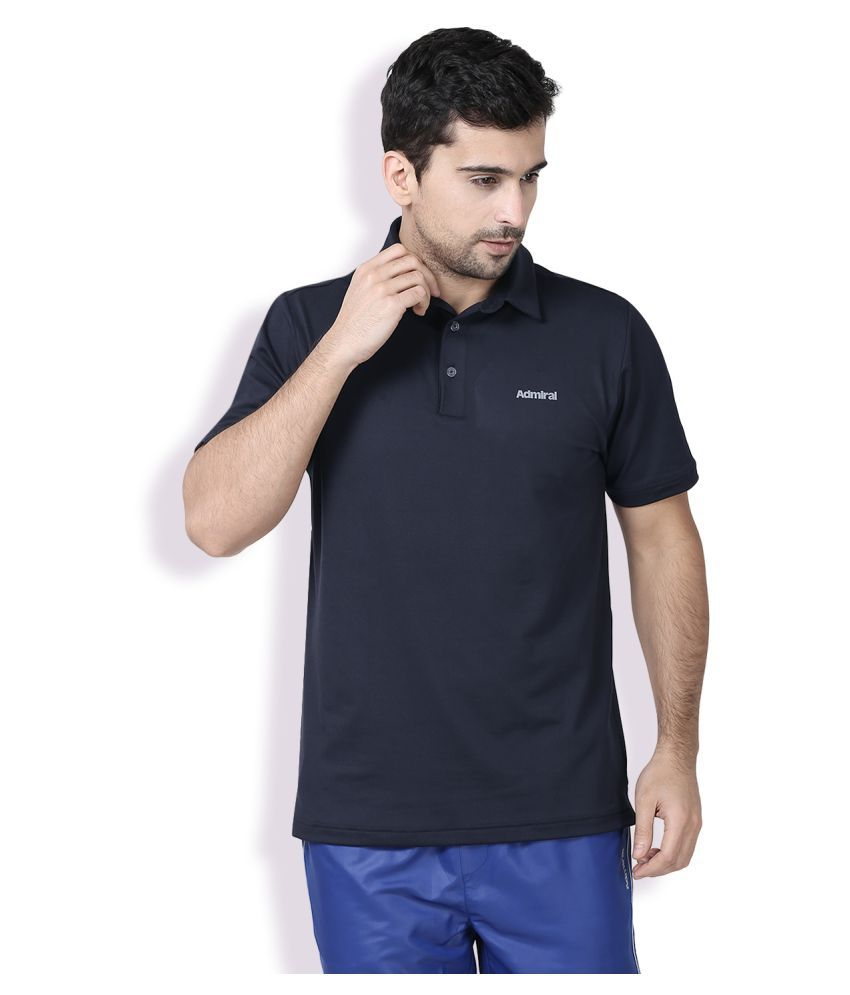 Admiral Blue Polyester Polo T-Shirt