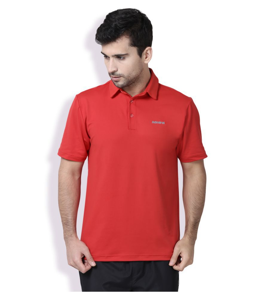 Admiral Red Polyester Polo T-Shirt Single Pack