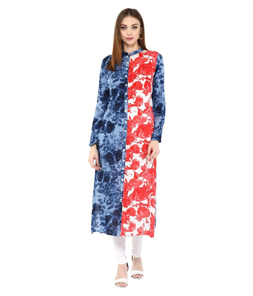 Alice Blue Multicoloured Viscose Straight Kurti