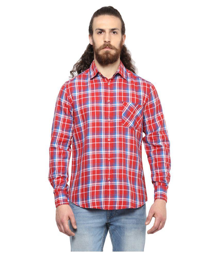 Crosscreek Red Casual Slim Fit Shirt