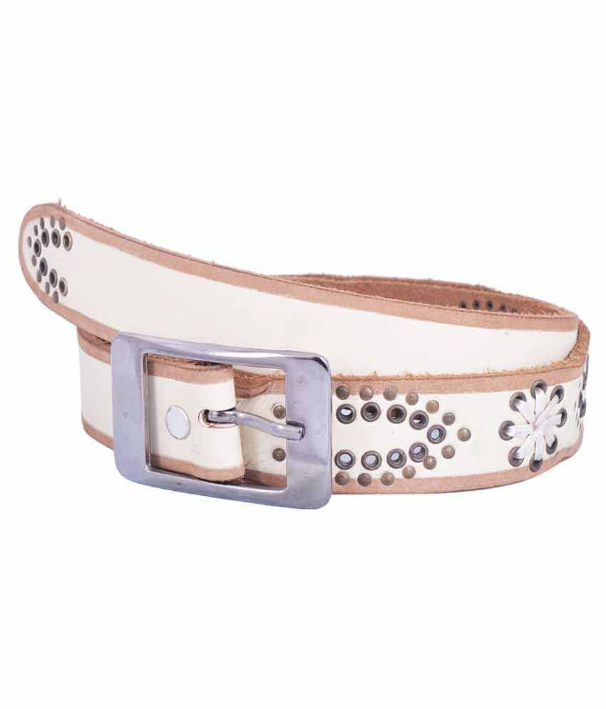 Earnam White PU Casual Belts