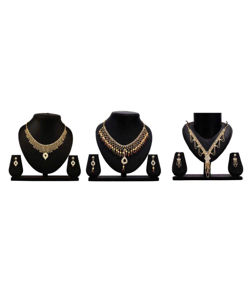 Dealseven Fashion Golden Alloy Necklace Set - Pack of 3
