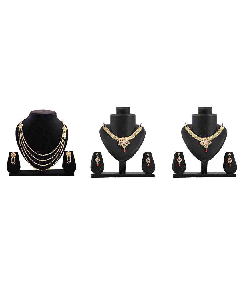 Bahucharaji Creation Golden Alloy Set Of 3 Necklace Set