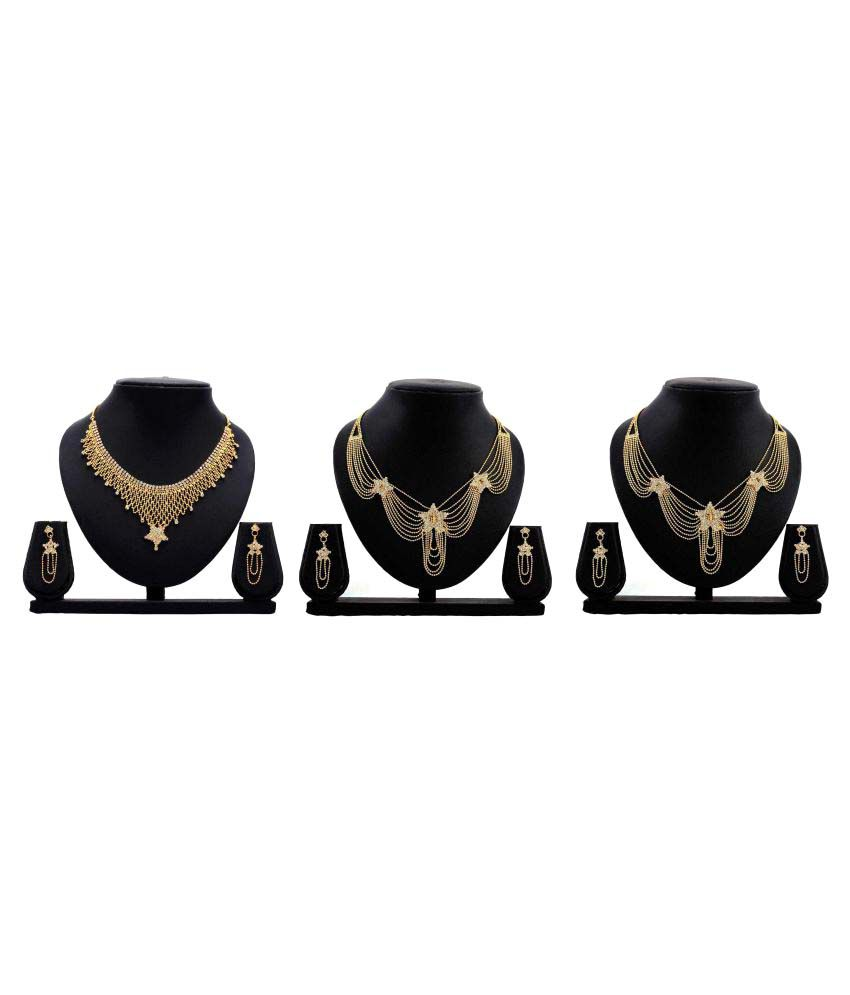 Bahucharaji Creation Golden Color Alloy Set Of 3 Necklace Set Combo.
