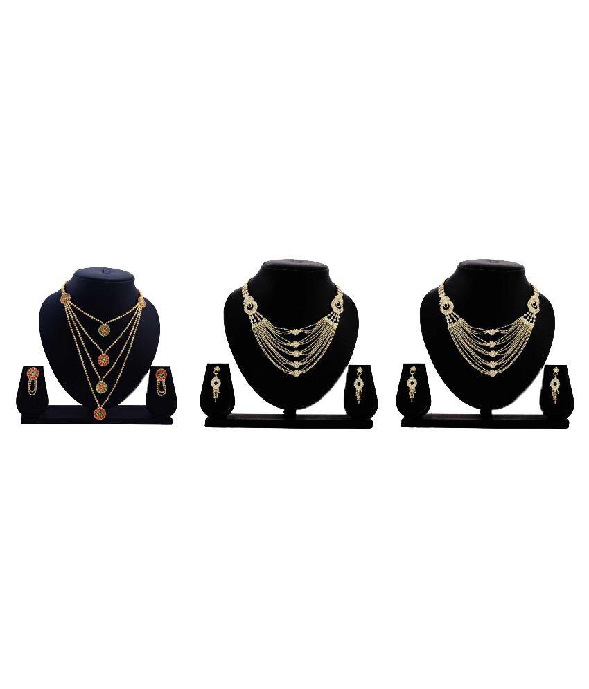 Dealseven Fashion Golden Alloy Necklace Set Combo - Set of 3